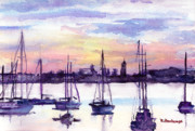 Pacific City Paintings - Sunset View from Harbor Drive by Suzanne  Frie