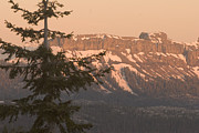 Sunset In Mountains Posters - Sunset View Of Snowy Mountain Ridge Poster by Phil Schermeister