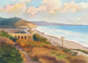 Lagoon Painting Prints - Sunset View of Torrey Pines Print by Mary Helmreich