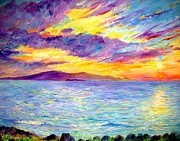 Athletes Painting Originals - Sunset Wailea beach by Tamara Tavernier