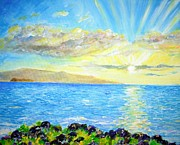 Kauai Artist Paintings - Sunset Wailea by Tamara Tavernier