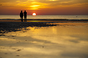 Afterglow Posters - Sunset Walk at the Beach Poster by Heiko Koehrer-Wagner