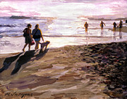 Dog Walking Prints - Sunset Walk Print by Michael Jacques