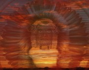 Spiritual Warrior Posters - Sunset Warrior Poster by Lori Seaman