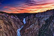 Wy Framed Prints - Sunset Waterfall Framed Print by John K Sampson