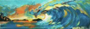 Beach Scenes Drawings Posters - Sunset Wave Poster by Michael Henzel