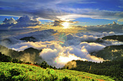 Mountain Scene Prints - Sunset With Clouds Print by Photo by Vincent Ting