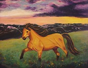 Suzanne  Marie Leclair - Sunset with Golden Horse
