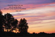 Bible Photo Posters - Sunset with Psalm Scripture Poster by Pamela Baker