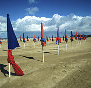 Sandy Beaches Posters - Sunshade on the beach. Deauville. Normandy Poster by Bernard Jaubert