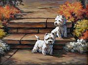West Highland Terriers Posters - Sunshine and Shadow--Westies Poster by Alice Taylor