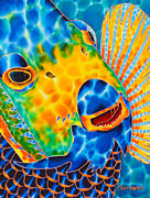 Silk Postcard Tapestries - Textiles Prints - Sunshine Angelfish Print by Daniel Jean-Baptiste