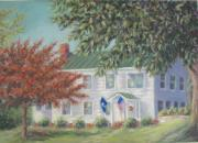 Usa Flag Pastels Framed Prints - Sunshine Cottage Historic Home Framed Print by Pamela Poole