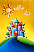 Homes Painting Prints - Sunshine Day Print by Cindy Thornton