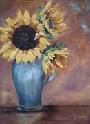 Sunflower Oil Paintings - Sunshine in a Vase by Donna Tuten