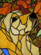 Retriever Glass Art Posters - Sunshine Poster by Ladonna Idell