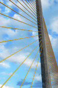 Skyway Framed Prints - Sunshine Skyway Bridge Angle Framed Print by Amanda Vouglas