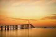 Orange Photo Framed Prints - Sunshine Skyway Bridge Framed Print by G Vargas
