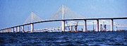 Cranes Mixed Media Prints - Sunshine Skyway Bridge II Print by Richard Rizzo