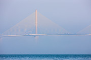Skyway Posters - Sunshine Skyway Bridge in Fog I Poster by Clarence Holmes