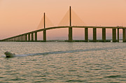 Tampa Framed Prints - Sunshine Skyway Bridge Framed Print by Ixefra