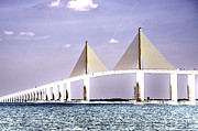 Sunshine Skyway Bridge Prints - Sunshine Skyway Bridge Poster Look Tampa Bay Florida USA Print by Sally Rockefeller
