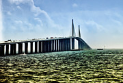 St Pete Prints - Sunshine Skyway Bridge - Tampa Bay Print by Bill Cannon