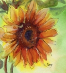 Sunflower Painting Metal Prints - Sunshine Sunflower Metal Print by MaryAnn Cleary