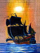 Galleons Posters - Sunship Galleon on Wood Poster by Duane McCullough