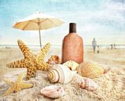 Suntan Metal Prints - Suntan lotion and seashells on the beach Metal Print by Sandra Cunningham