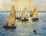 Sailboats Paintings - Sunwashed Sailors by Marguerite Chadwick-Juner