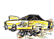 Custom Ford Drawings Metal Prints - Super Bee Metal Print by Big Mike Roate