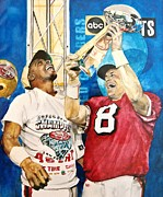 Super Stars Painting Framed Prints - Super Bowl Legends Framed Print by Lance Gebhardt