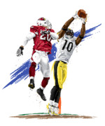 Pittsburgh Digital Art Metal Prints - Super Bowl MVP Santonio Holmes Metal Print by David E Wilkinson