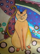 Whimsical Paintings - Super-cat by Pristine Cartera Turkus