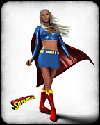 Super Heroe Framed Prints - Super Girl Framed Print by Frederico Borges