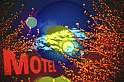 Motel Mixed Media Prints - Super Moon Motel Print by Gwyn Newcombe