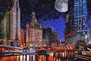 Chicago Digital Art Metal Prints - Super Moon Over Chicago River Metal Print by Dancin Artworks