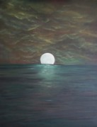 Sea Moon Full Moon Prints - Super Moon Rising Print by Rhonda Clapprood