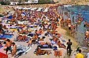 Suntanning Prints - Super Paradise beach in Mykonos island Print by George Atsametakis
