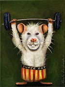 Body Builder Framed Prints - Super Rat Framed Print by Leah Saulnier The Painting Maniac