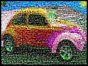 Vw Beetle Mixed Media Framed Prints - SuperBeetle VW Mosaic Framed Print by Paul Van Scott