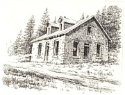 Towns Drawings - Superintendents House Granite Ghost Town Montana by Kevin Heaney