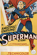 1940s Poster Art Framed Prints - Superman, 1941 Framed Print by Everett