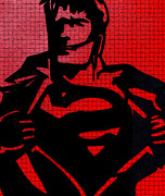Lichtenstein Prints Posters - Superman On His Bluetooth Poster by Robert Margetts