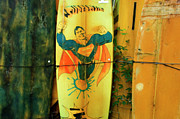 Board Fence Prints - Superman Surfboard Print by Bob Christopher