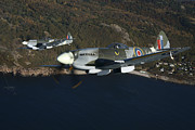 Supermarine Prints - Supermarine Spitfire Mk. Xviii And Mk Print by Daniel Karlsson