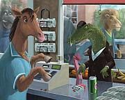 Grocery Store Digital Art Posters - Supermarket Horse Serving Poster by Martin Davey