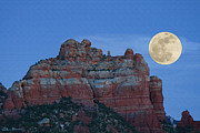 Red Rock Paintings - Supermoon by Ellen Henneke