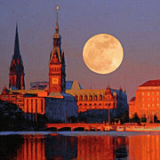 Hamburg Painting Prints - Supermoon over Hamburg Print by Nop Briex